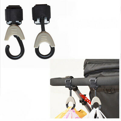 2Pcs Baby Stroller Hooks Hanger Carriage Pram Storage Bag Swivel Hooks Practical