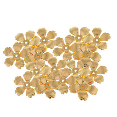 30Pc Golden Metal Hollow Filigree Flower Spacer End Bead Caps Jewelry Charms