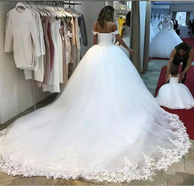 2019 Off Shoulder Ball Gown Cathedral Train Lace Tulle Wedding Dress Bridal Gown