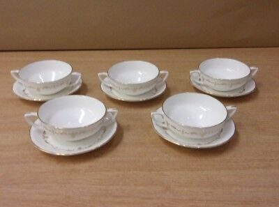 Royal Worcester China Gold Chantilly Two handled Bowls & Saucers x5 Soup Dessert
