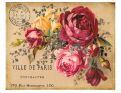 Vintage Image French Label Roses Furniture Transfers  Decoupage Decals FL544