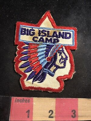 Vtg As-Is Stained BIG ISLAND CAMP Boy Scout Patch - Native American Indian O91C