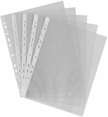 A4 Clear Plastic Poly Punched Pockets Strong Filing Wallets Sleeves 60 micron