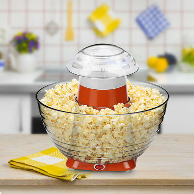 Portable Mini Hot Air-Pop Popcorn Maker Fast Popper Maker W/Bowls For Home Party
