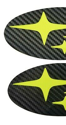NEON Yellow/Green Carbon Fiber EMBLEM Overlays PRECUT Badge F/R WRX/STI SEDAN