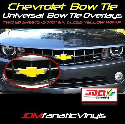 "TWO 2-5""x11"" Gloss YELLOW Bow Tie Emblem Overlays Decal Wrap Satin Universal KIT"