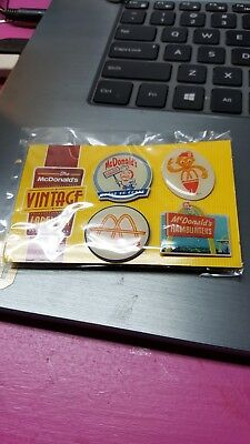 4 Vintage Mcdonalds Pins Arch Deluxe Fries Pinback Advertising Hamburger Burgers