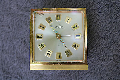 Vintage Angelus Swiss Made Wind Up Travel Alarm Clock AS IS