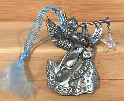 """AVON FINE COLLECTIBLES 2002 """"NOEL"""" PEWTER CHRISTMAS Angel ORNAMENT"""