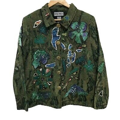 Indigo Moon Womens Green Tapestry Beading Embellished Floral Jacket Size Medium