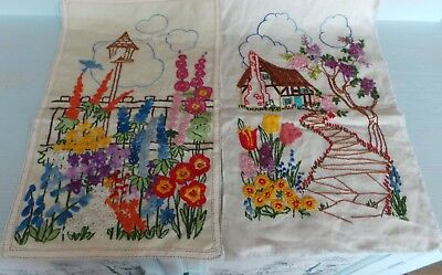 Two Vintage Embroidered panels 1930's