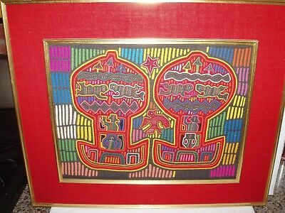 Vintage Mola San Blas Applique Embroidery Textile Animal Exotic Scene Framed