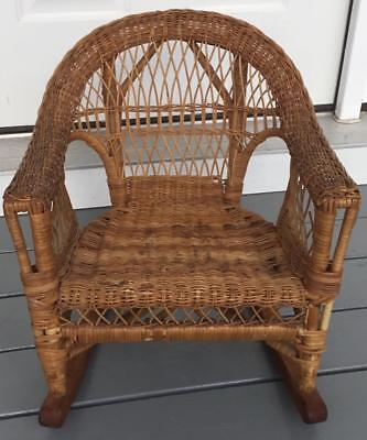 "Vintage Wicker Child's Rocking Rocker Chair Doll Display Nursery 19 3/4"" Tall"