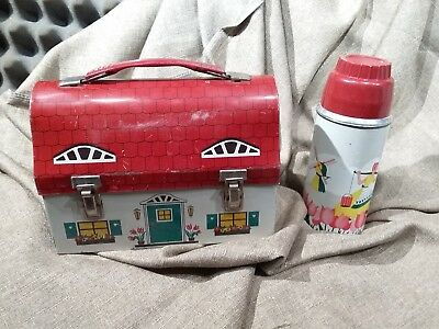 WOW!! Vtg. 1958 Dutch Cottage Dome Metal Lunchbox W/ Matching Thermos ~RARE~