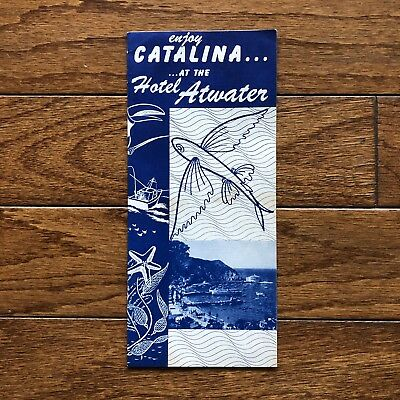 1950's Enjoy Catalina At The Hotel Atwater Flying Fish Brochure