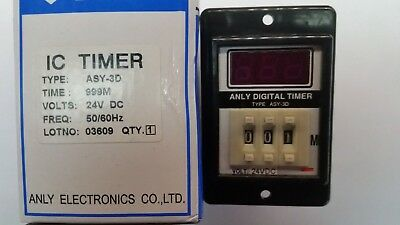 1-Off Digital Time Timer Relay ASY-3D  24V DC 1-999 Minutes