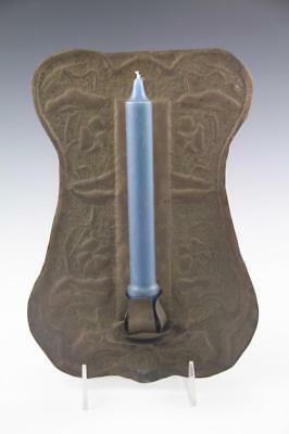 Antique Arts Crafts Mission Art Nouveau Hammered Brass Candle Wall Sconce