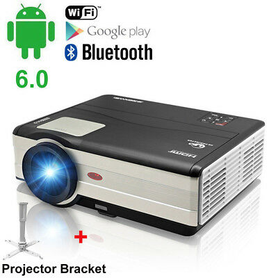 4000LM Smart Android Home Theater Projector Bluetooth HD HDMI WIFI PC Game+Stand