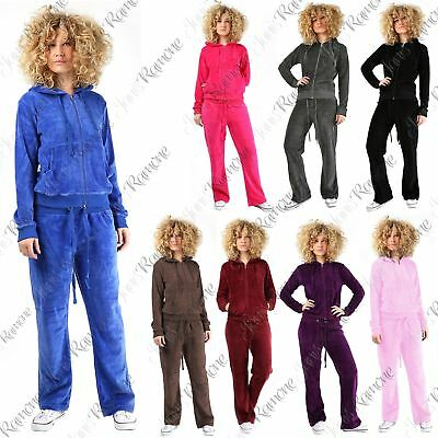 Womens Velvet Velour Hooded Lounge Wear Top Bottom 2 Pcs Suit Jogging Tracksuit