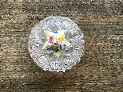 Small Cut Glass Trinket Dish Decorated With China Flowers On The Top Of Lid