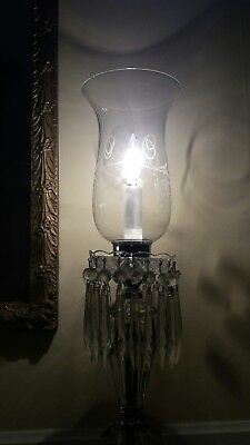 Antique Victorian mantel lusters elec hurricane glass lamps with dangling prisms