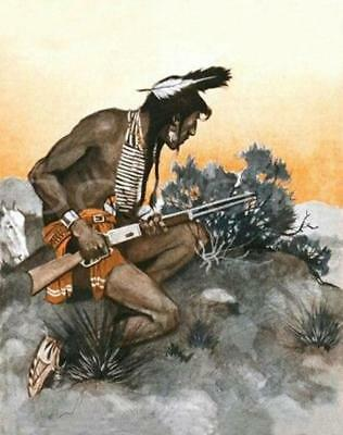 Antique Repro 8X10 Photo Print Indian Brave Scout With Winchester Rifle