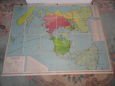 Vintage Antique map of the United States and World Affairs 1953 Indexes Military