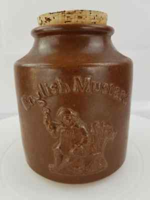 Antique Salt Glazed Moira English Stoneware Jar English Mustard Clipper Brand