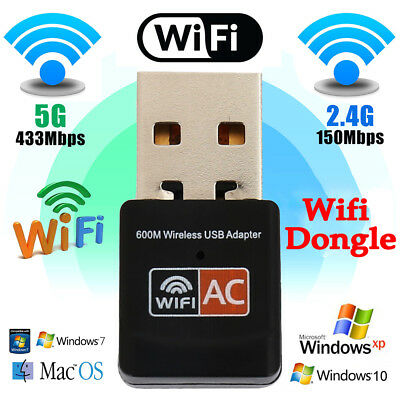600Mbps Dual Band USB WiFi Dongle Wireless LAN Adapter 802.11ac/a/b/g/n 5/2.4Ghz
