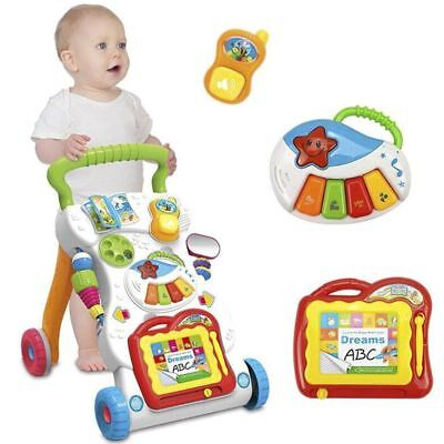 Baby Walker Trolley Sit Stand Learning Walking Assistant Musical Toy First Steps