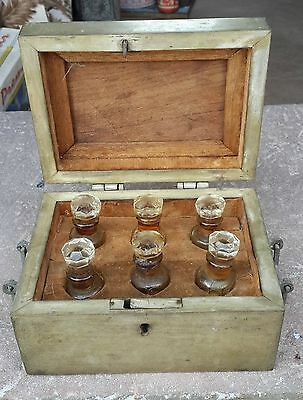 ANTIQUE 1800s HAND CARVED BRASS GLASS PERFUME BOTTLE BOX WITH 6 BOTTLES