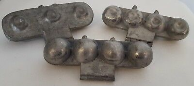 Lot of 3 Vintage Pewter Ice Cream Molds