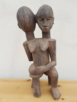 Fine African Lobi wood conjoined twin fetish  figure. Genuinely old and rare.