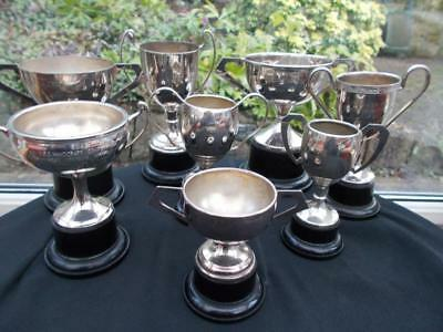 8 Assorted Silver Plated 1950S 60S Sporting Football Trophies Cups As Shown