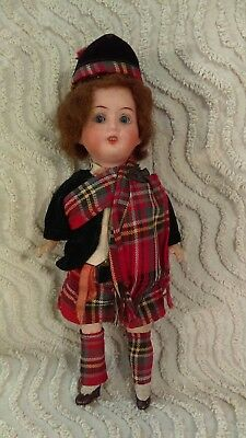 "Antique Strobel Wilkin 9"" Bisque Scottish Doll 200 Germany Glass Sleep Eyes Wig"