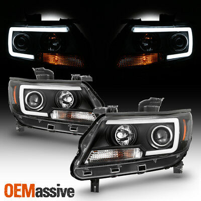 Fits 2015-2018 Chevy Colorado Black Full LED DRL Tube Projector Headlights Set