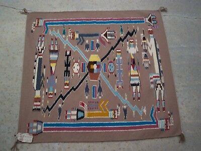 "Native American Navajo Weaving ""sandpainting"" Pictorial Rug"