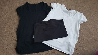 George Maternity Tshirts Size 10 -14 38-42 White Black And Bump cover