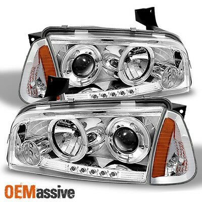 For 06-10 Dodge Charger Halo Projector Chrome LED Headlights+ Corner Signal Lamp