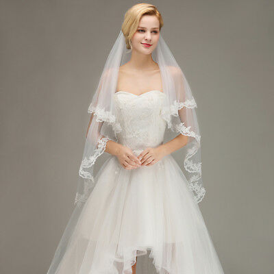 2T Short Elbow Wedding Veil With Comb Lace Edge Bridal Accessories White Ivory