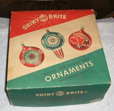 """Vintage Large Shiny Brite Ornaments BOX ONLY Western Germany 10"""" Square"""
