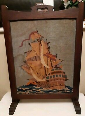 """VINTAGE TAPESTRY FIRE SCREEN/GUARD DEPICTING A TALL SHIP/GALLEON ~ 30""""H x 20½""""W"""