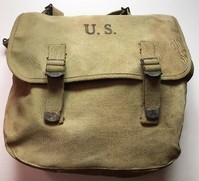 Original WWII US Army Rubberized M1936 Musette Bag/Pack 1943 Airborne Type