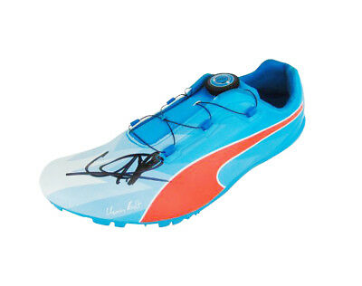 7356f69010c36e USAIN BOLT SIGNED Puma Gold Olympic Champion Running Spike Shoe + ...