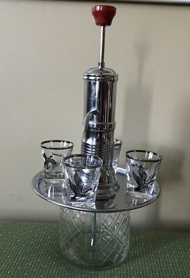 5 Pc SET VINTAGE DIAMOND GLASS RED BAKELITE TOP CHROME LIQUOR PUMP DISPENSER
