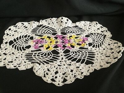 Vintage Handmade White Doily with Easter variegated purple and yellow center
