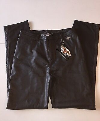 New HARLEY DAVIDSON WOMEN'S BLACK PIVOT LEATHER PANTS. SIZE 16  98127-02VW/1600