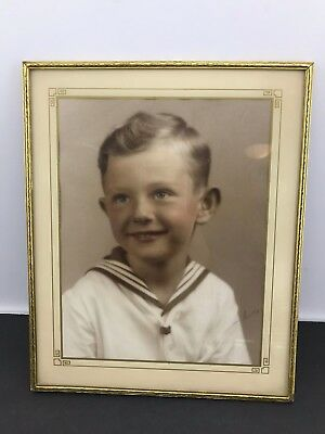 Vintage Mid-century Brass Metal Picture Frame Photo -Young Handsome Boy Sailor