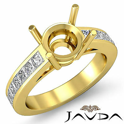 Natural Diamond Engagament Promise Ring 14k Yellow Gold 0.5Ct Round Semi Mount