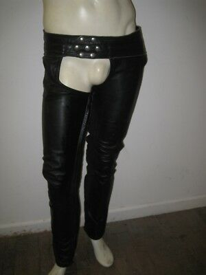 LEATHER FOREVER San Francisco Black Leather Snap / Lace Motorcycle Chaps